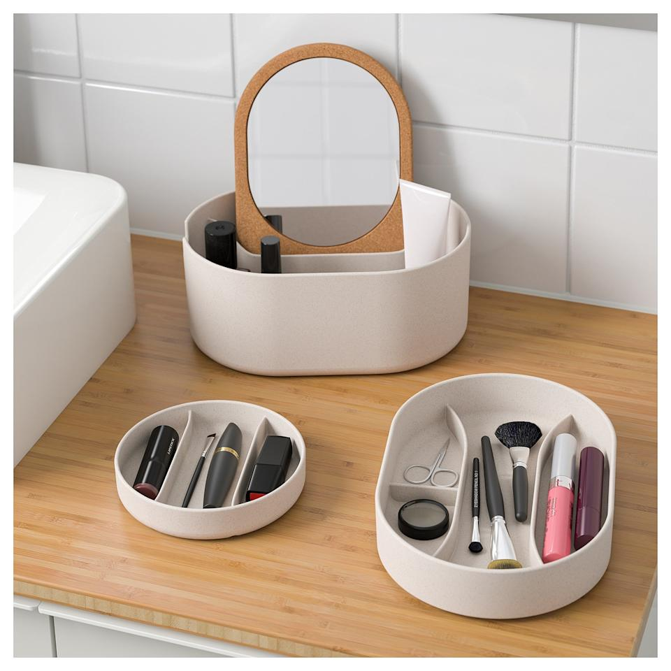 """<p>Introducing, the ultimate vanity storage box for organizing jewelry, makeup, nail clippers, tweezers, and the rest of your grooming essentials. The best part: It even comes with a mirrored lid, so you don't have to fight your family members for the bathroom mirror. </p> <p><strong>To buy: </strong>SAXBORGA Storage Box, $20, <a href=""""https://www.ikea.com/us/en/catalog/products/80391882/"""" target=""""_blank"""">ikea.com</a>. </p>"""