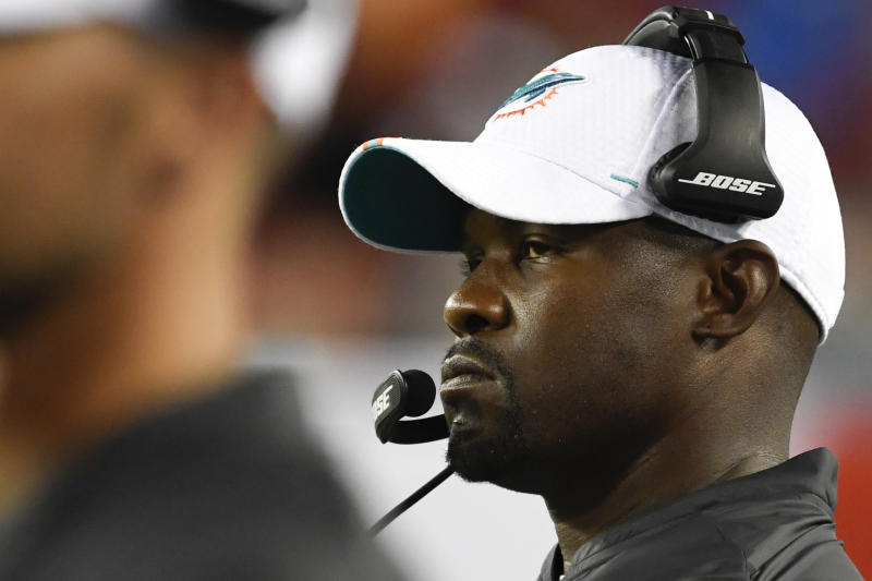 Brian Flores explained his Jay-Z choice and took a strong stance on the issue of NFL social justice protests. (Reuters)