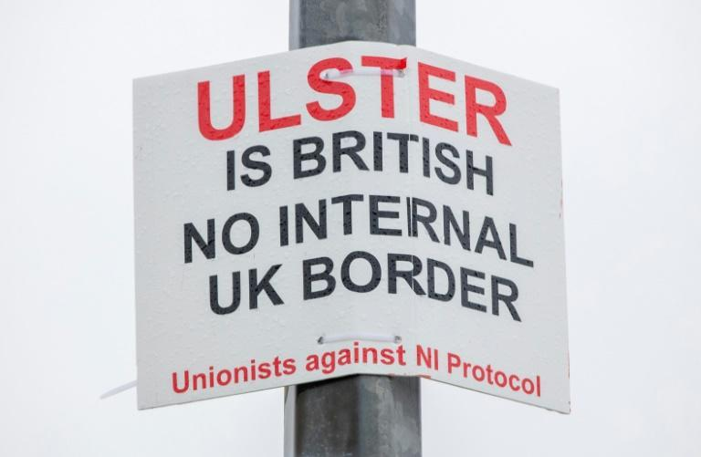 A Unionist poster against a UK internal border attached to a post at the Port of Larne in Northern Ireland