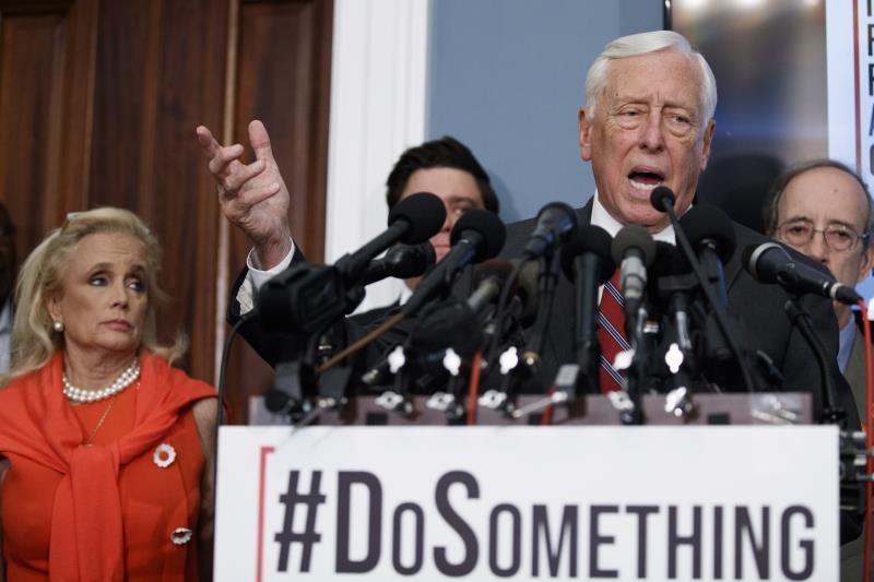 House Majority Leader Steny Hoyer responds to a question from the news media following calls on Senate Majority Leader Mitch McConnell and the Senate to take action on H.R. 8 - Bipartisan Background Checks Act of 2019 during a press conference in the US Capitol in Washington, DC, USA, 13 August 2019. EFE/EPA/SHAWN THEW