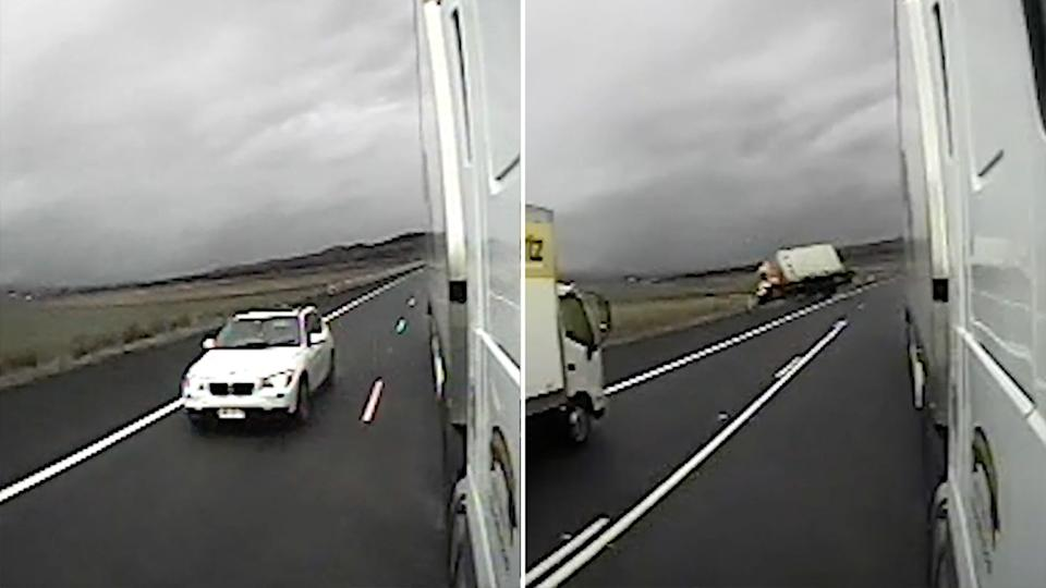A driver on the wrong side of the road forced. a truck driver to make a split-second decision, which saw them roll into a ditch. Source: NSW Police