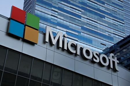 FILE PHOTO: The Microsoft sign is shown on top of the Microsoft Theatre in Los Angeles, California