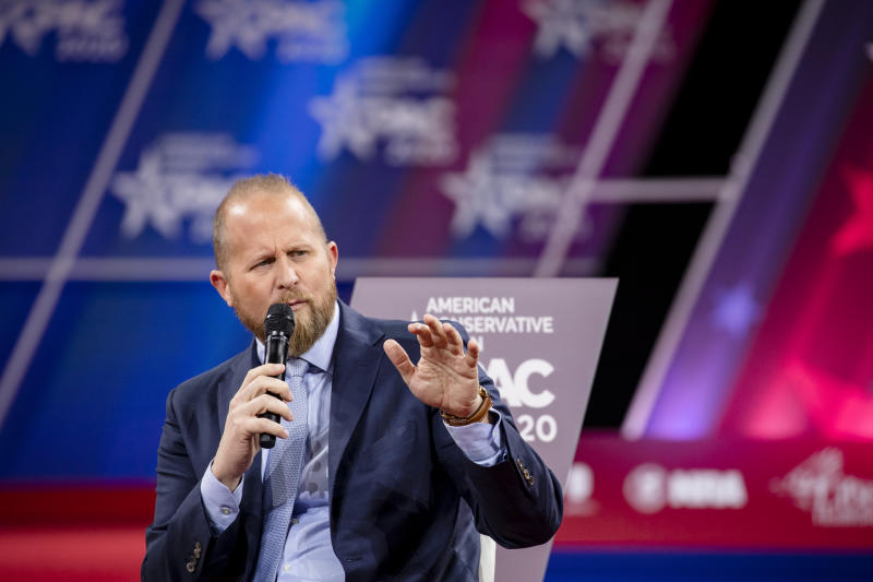 Brad Parscale, campaign manager for Trump's 2020 reelection campaign, speaks on stage with Laura Trump during the Conservative Political Action Conference 2020 (CPAC) hosted by the American Conservative Union on February 28, 2020 in National Harbor, MD. (Samuel Corum/Getty Images)