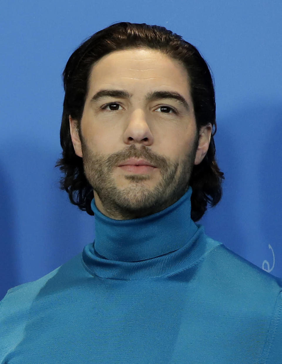 """FILE - Tahar Rahim appears during a photocall at the 2019 Berlinale Film Festival in Berlin, Germany, on Feb. 7, 2019. Rahim was nominated for a Golden Globe for for best actor in a motion picture drama for his current role in """"The Mauritanian."""" (AP Photo/Michael Sohn, File)"""