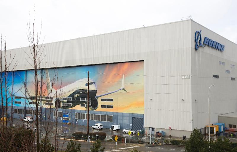 A Boeing 737 MAX 8 is pictured on the exterior of the Boeing Renton Factory in Renton, Washington, as the image of the manufacturer comes under pressure after fatal crashes (AFP Photo/Jason Redmond)