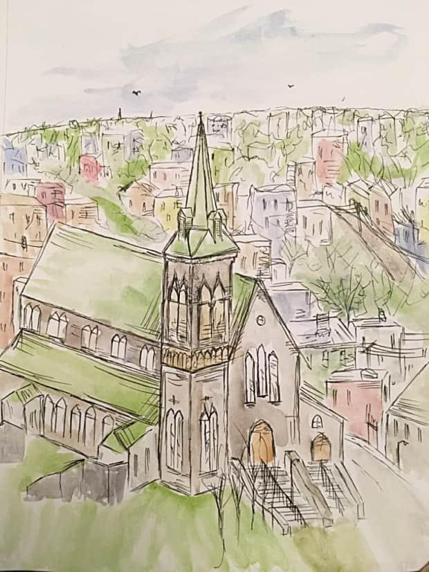 Noseworthy painted St. Patrick's Church in St. John's, where his grandparents got married, then sent them the artwork as a gift.