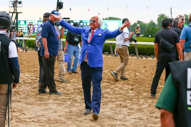Bob Baffert celebrates winning the Triple Crown for a second time, this time with Justify. (AP)