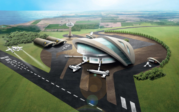 An artist's impression of the new spaceport in Newquay, Cornwall. Source: The Telegraph
