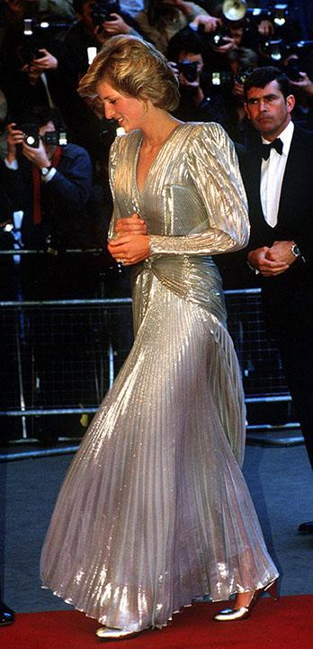 """Princess Diana wore a shimmering silver gown with similar shaping to the 1985 premiere of another Bond flick, 'A View to a Kill.' <span class=""""copyright"""">Photo by Jayne Fincher/Princess Diana Archive/Getty Images</span>"""