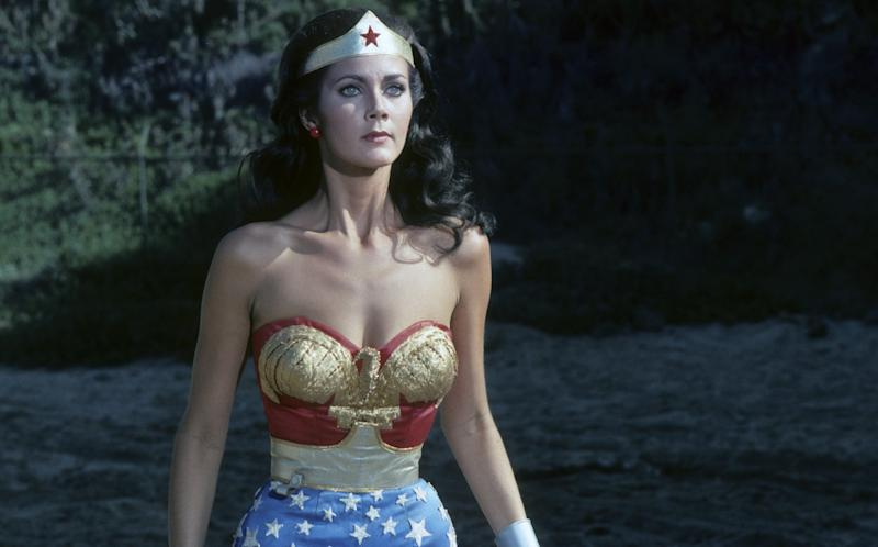 "Lynda Carter on the ""Wonder Woman"" set on Jan. 22, 1977."