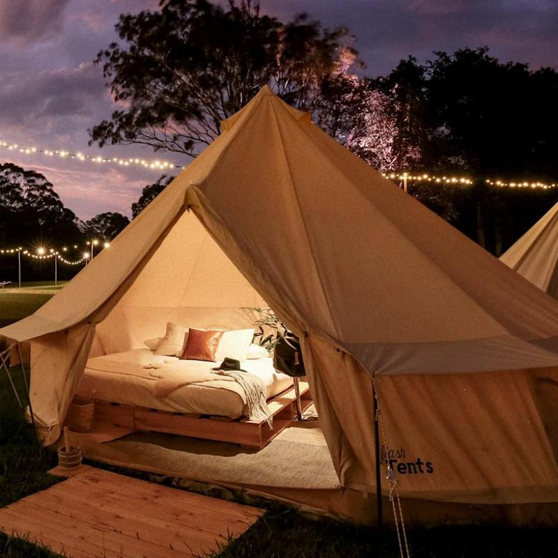 The luxury accommodation is also available at festivals including Splendour in the Grass and Falls Festival. Source: Elise Hassey