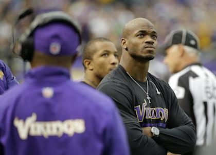 Adrian Peterson shas not played since the season opener. (AP)