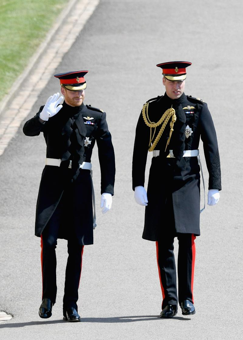 Prince Harry and Prince William, Duke of Cambridge the wedding of Prince Harry to Ms Meghan Markle at St George's Chapel, Windsor Castle on May 19, 2018 in Windsor, England.