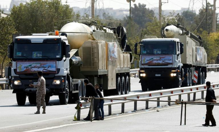 Iran displays a new multiple-warhead medium-range missile dubbed the Khoramshahr at a military parade in Tehran on September 22, 2017