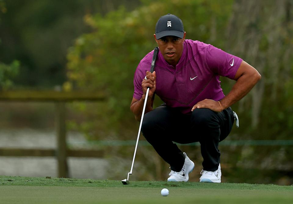A backup putter owned by Tiger Woods sold for a record price at auction. (Mike Ehrmann/Getty Images)
