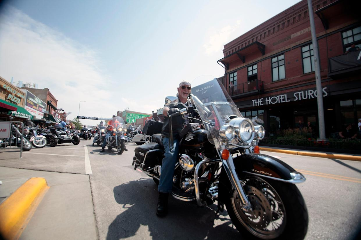 Motorcycles fill the streets of Sturgis, S.D on Friday, Aug. 6, 2021 as the Sturgis Motorcycle Rally began.