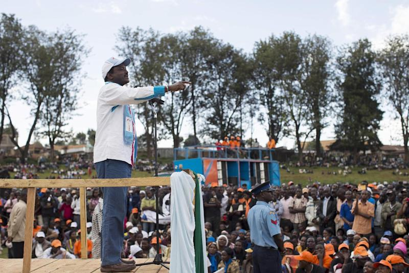 Current Vice President Kalonzo Musyoka speaks to the crowd at an ODM rally held in Kapkatet, Kenya, Friday, Feb. 22, 2013. Musyoka is running once again as VP in Kenya's March 4 elections, this time alongside Presidential hopeful Raila Odinga. (AP Photo/Mackenzie Knowles-Coursin)