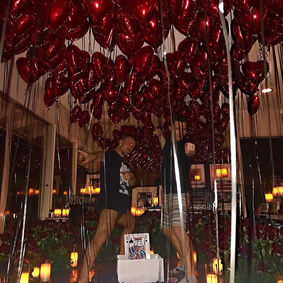 """<p>The newlyweds went all out for Valentine's Day, ringing in the holiday with <a rel=""""nofollow"""" href=""""https://www.instagram.com/p/BfNcjW0htzi/?hl=en&taken-by=coltonlhaynes"""">red balloons and roses</a>.</p>"""