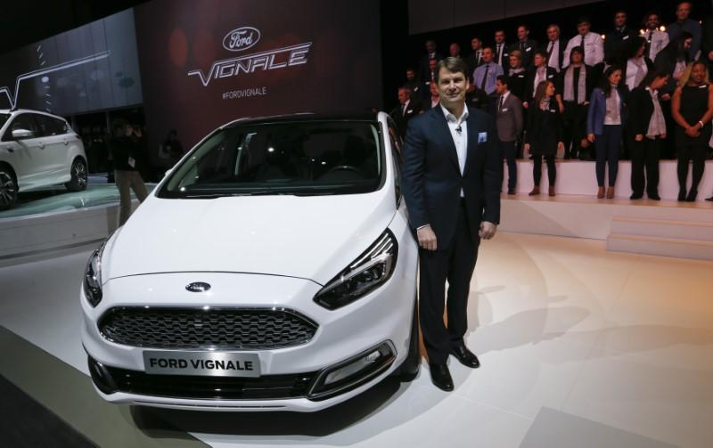 Farley, executive vice president and president of Ford EMEA poses next to the new Ford Vignale car at the 86th International Motor Show in Geneva
