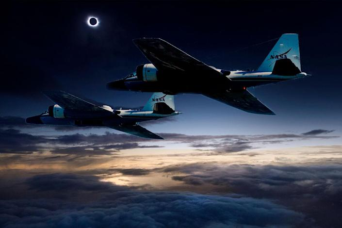 A photo illustration of the two NASA WB-57F jet planes that will chase the total solar eclipse on Aug. 21, allowing scientists to image the sun's outer atmosphere and study temperature variations on Mercury. <cite>NASA/Faroe Islands/SwRI</cite>