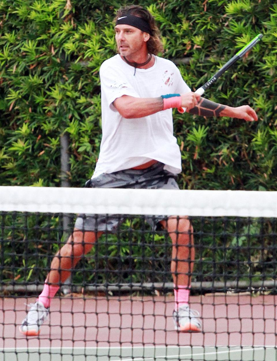 <p>Gavin Rossdale hits the court for a tennis session in Los Angeles on Wednesday.</p>