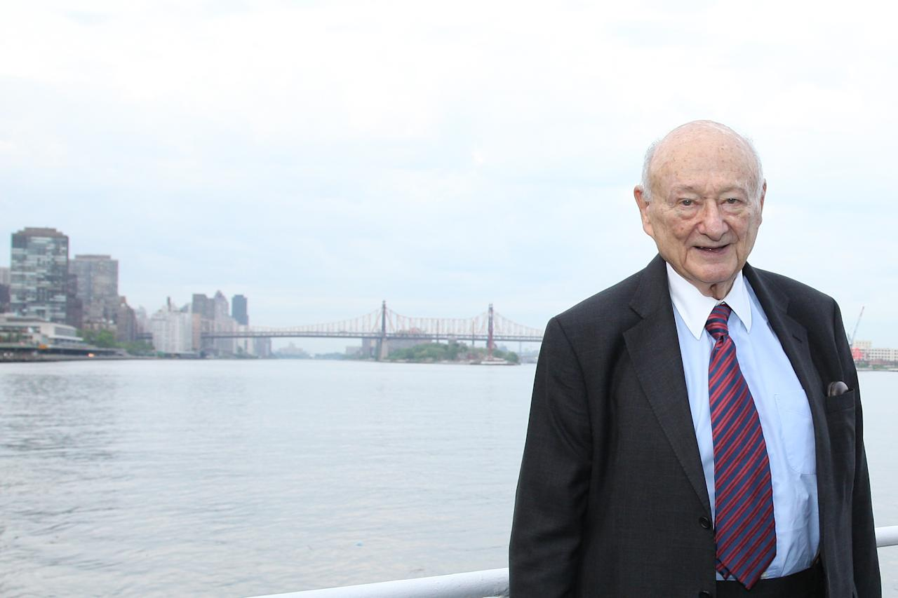 NEW YORK, NY - MAY 19:  Ed Koch poses with the Queensboro Bridge in the distance at the renaming of the bridge in his honor at The Water Club Restaurant on May 19, 2011 in New York City.  (Photo by JP Yim/Getty Images)