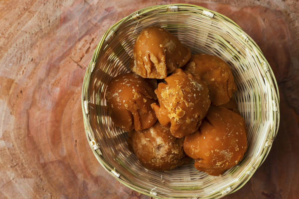 Jaggery is a natural sweetner made from date palm and sugar cane.