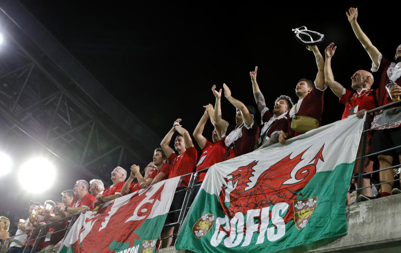 Welsh fans celebrate following the Rugby World Cup Pool D game between Wales and Georgia at Toyota City Stadium, Toyota City, Japan, Monday, Sept. 23, 2019.Wales defeated Georgia 43-14. (AP Photo/Christophe Ena)