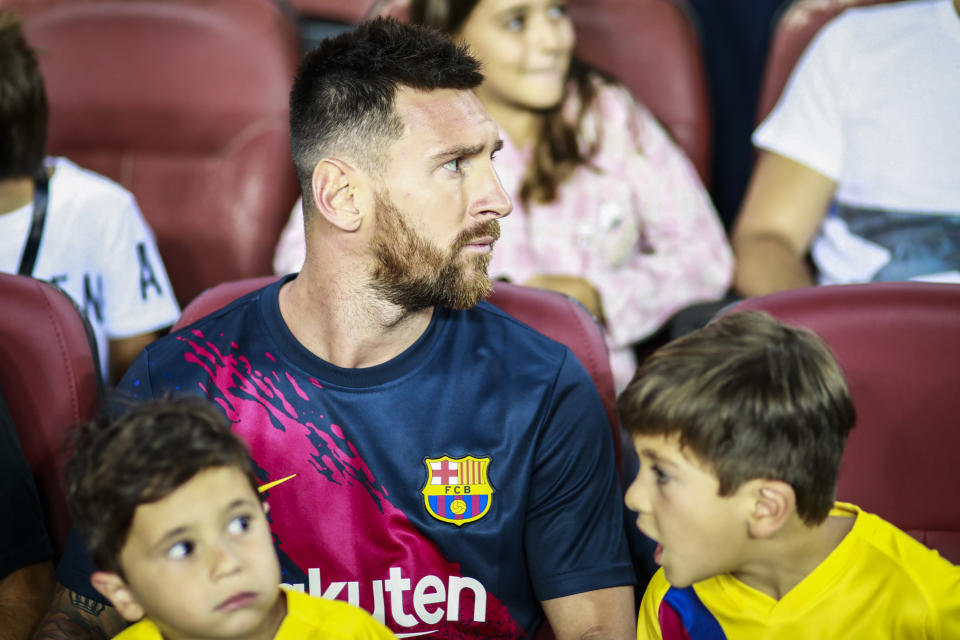 Lionel Messi from Argentina of FC Barcelona, portrait with his childrens Thiago and Mateo during the La Liga match between FC Barcelona and Real Betis Balompie in Camp Nou Stadium in Barcelona 25 of August of 2019, Spain.  (Photo by Xavier Bonilla/NurPhoto via Getty Images)