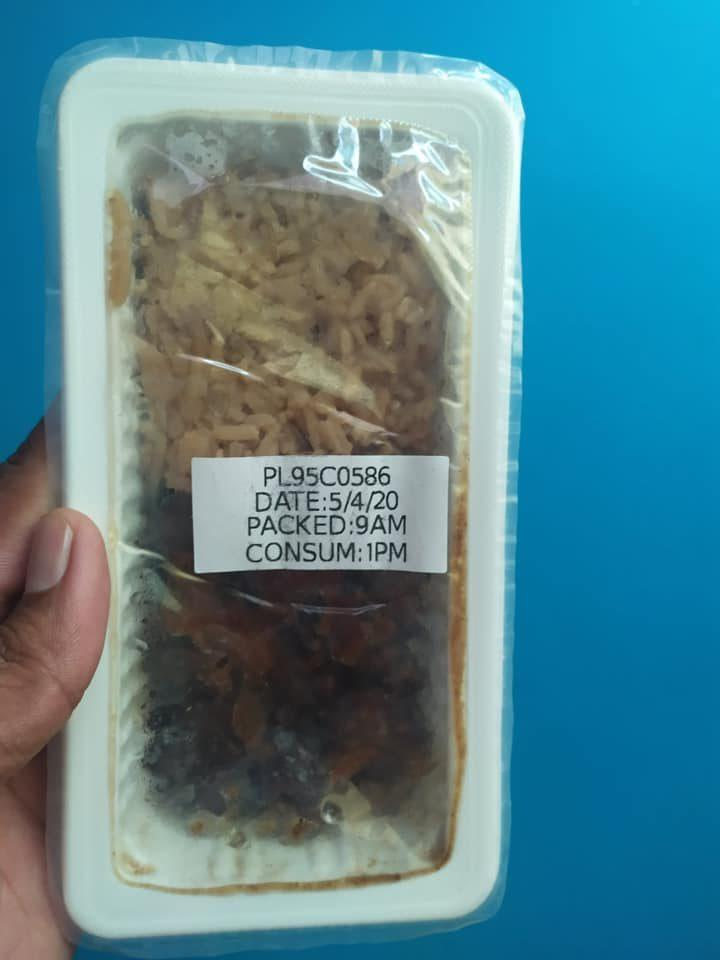 A packaged meal provided to migrant workers on lockdown. Photo: Jason See/Facebook