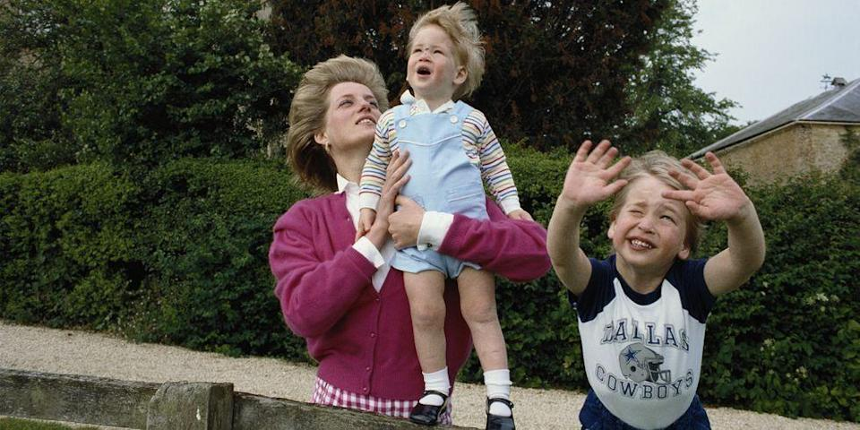 <p>Watching airplanes in the garden of Highgrove House in Gloucestershire with William and Harry. </p>