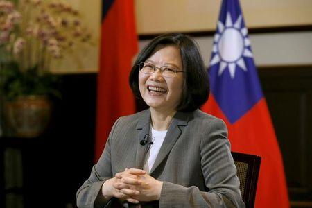Taiwan President Tsai Ing-wen smiles during an interview with Reuters at the Presidential Office in Taipei, Taiwan