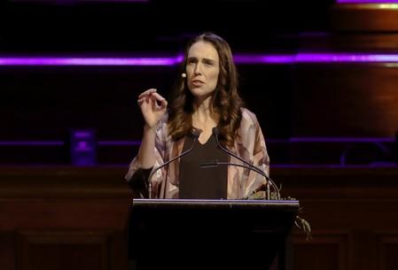 """FILE PHOTO: New Zealand Prime Minister Jacinda Ardern delivers a speech entitled """"Why Does Good Government Matter?"""" at Melbourne Town Hall, Melbourne"""