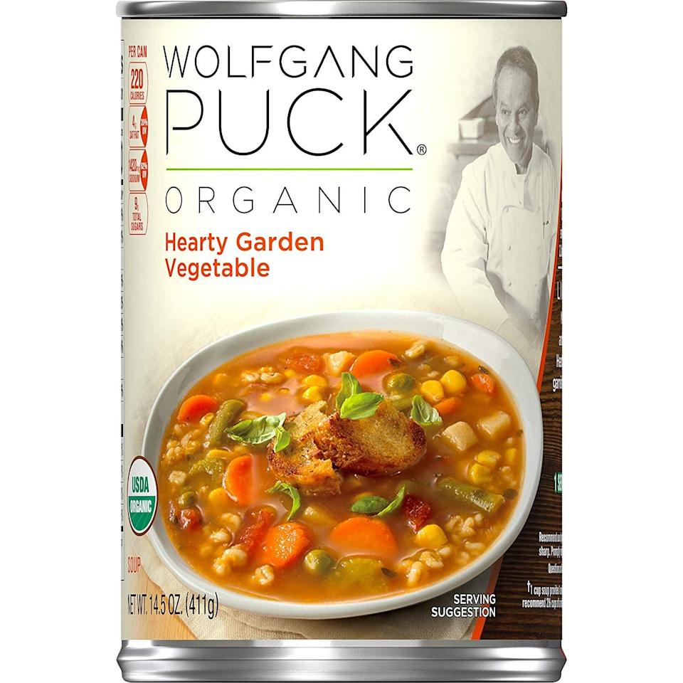 <p>Made with restaurant-quality ingredients, you'll love this tasty<br> <span>Wolfgang Puck Organic Hearty Garden Vegetable Soup</span> ($3).</p>