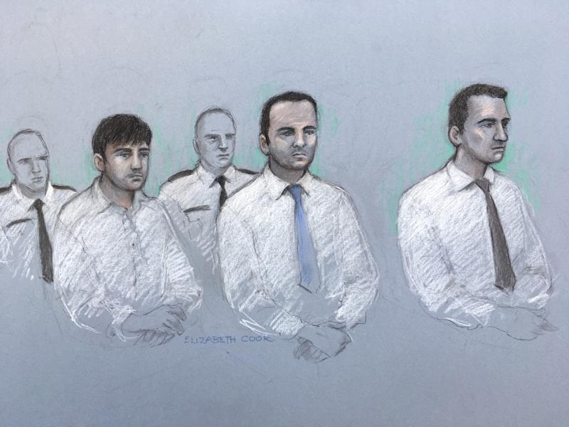 Court artist sketch by Elizabeth Cook of (left to right) Henry Long, 19, Albert Bowers, 18, and Jessie Cole, 18, as they sit in the dock at the Old Bailey in London, where they are accused of murdering 28-year-old police officer Pc Andrew Harper, who was dragged behind a car after responding to a reported quad bike theft in August 2019. Their original trial, which started in February, was abandoned due to the coronavirus pandemic.