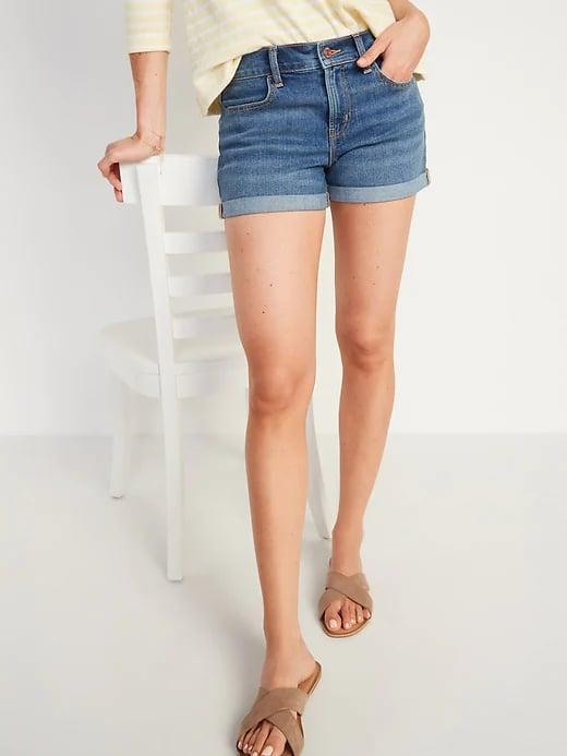 <p>For a more polished pick with no fraying, these <span>Old Navy Mid-Rise Dark-Wash Jean Shorts</span> ($15) jumped out at us.</p>