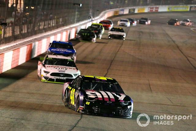 """Jimmie Johnson, Hendrick Motorsports, Chevrolet Camaro Ally and Brad Keselowski, Team Penske, Ford Mustang Discount Tire <span class=""""copyright"""">Russell LaBounty / NKP / Motorsport Images</span>"""