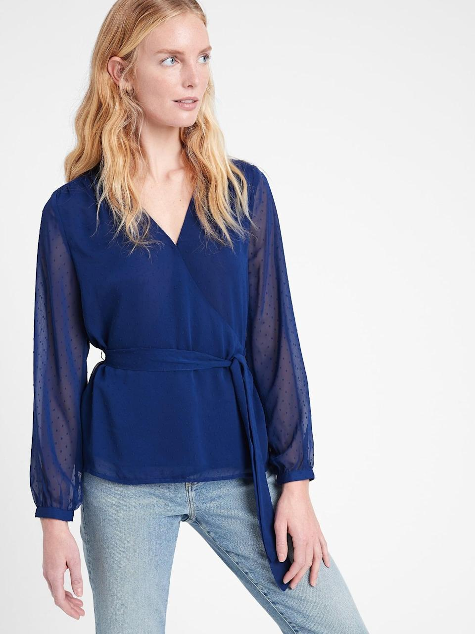 <p>Like a perfect wrap dress this <span>Banana Republic Chiffon Wrap Top</span> ($50, originally $85) is so flattering and can be dressed up or down.</p>