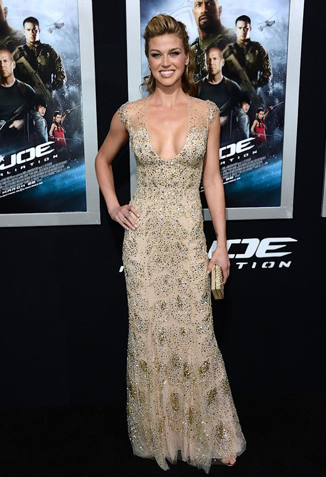 "HOLLYWOOD, CA - MARCH 28:  Actress Adrianne Palicki arrives at the Premiere of Paramount Pictures' ""G.I. Joe: Retaliation"" at TCL Chinese Theatre on March 28, 2013 in Hollywood, California.  (Photo by Frazer Harrison/Getty Images)"