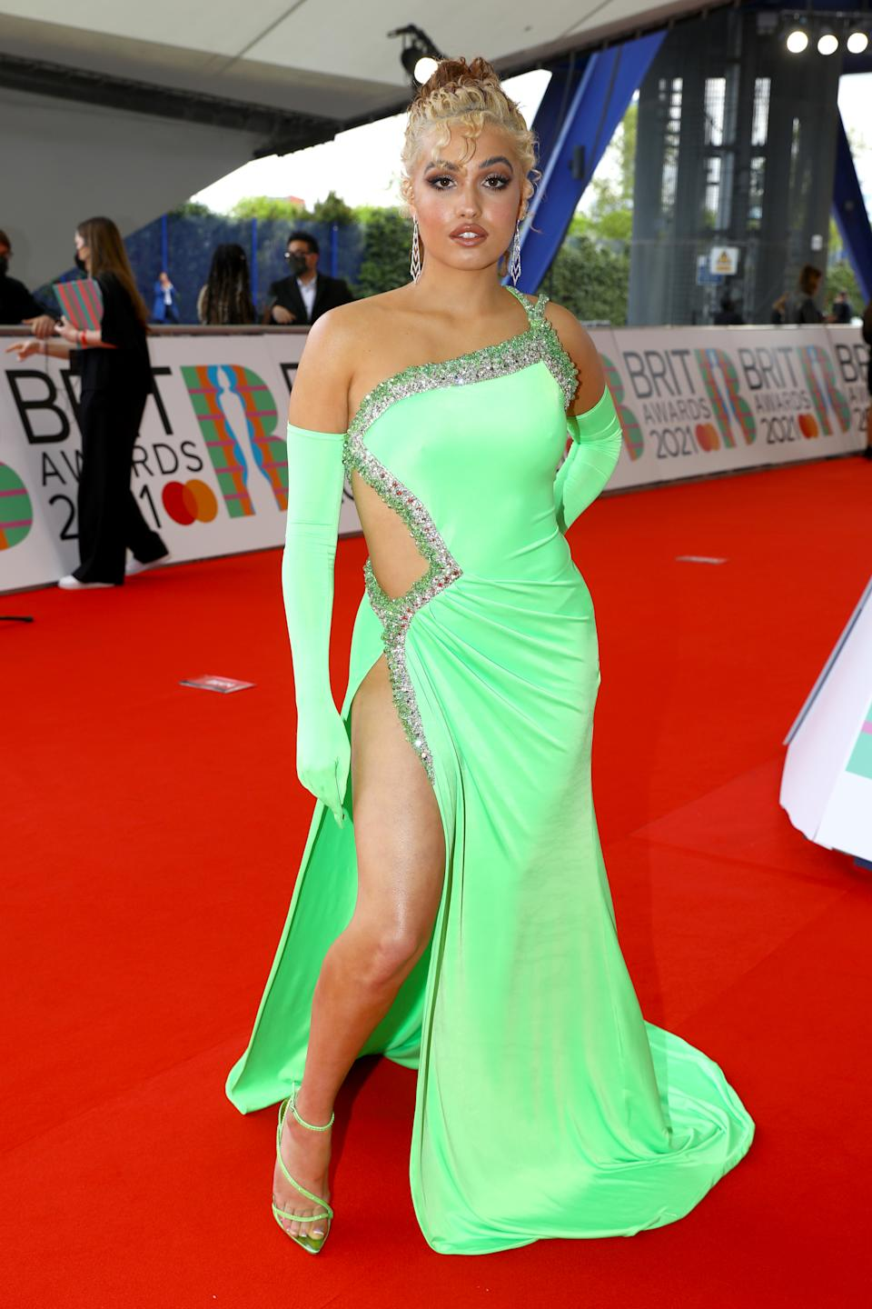Mabel arrives at The BRIT Awards 2021 at The O2 Arena on May 11, 2021 in London, England