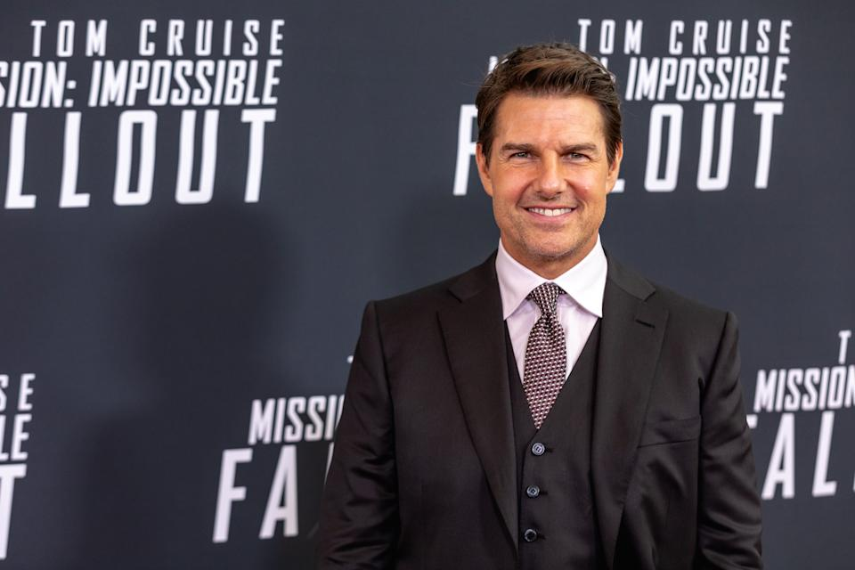 """Tom Cruise, who plays """"Ethan Hunt"""" in Mission: Impossible  Fallout, walks the red carpet of the U.S. premiere at the Smithsonian National Air and Space Museum in Washington, D.C., on Sunday, July 22, 2018. (Photo by Cheriss May/NurPhoto via Getty Images)"""