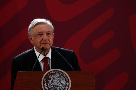FILE PHOTO: Mexico's President Andres Manuel Lopez Obrador attends a media conference at Palacio Nacional in Mexico City