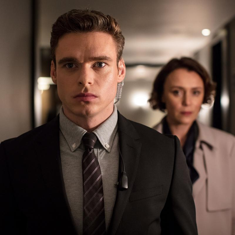 Richard Madden as David Budd in the BBC series Bodyguard - WARNING: Use of this copyright image is subject to the terms of use of BBC Pictures' Digital Picture Service (BBC Pictures) as set out at www.bbcpictures.co.uk. In particular, this image may only be published by a registered User of BBC Pictures for editorial use for the purpose of publicising the relevant BBC programme, personnel or activity during the Publicity Period which ends three review weeks following the date of transmission and provided the BBC and the copyright holder in the caption are credited. For any other purpose whatsoever, including advertising and commercial, prior written approval from the copyright holder will be required.