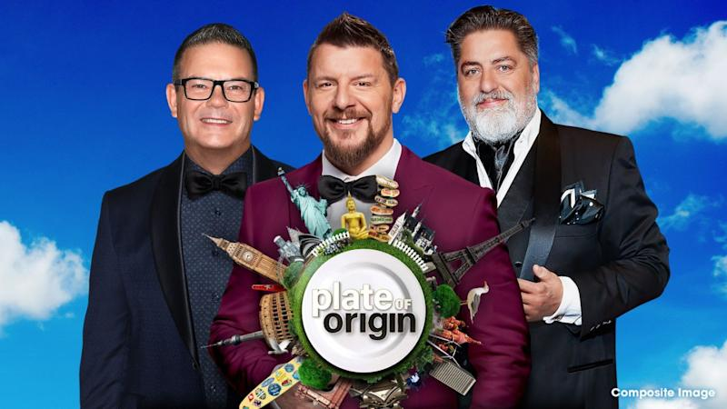 A photo of Plate Of Origin co-hosts Gary Mehigan, Manu Feildel and Matt Preston.