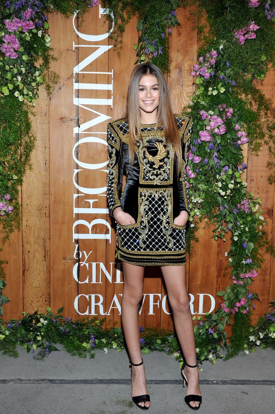 <p>The fashion icon wore a sleeved mini dress to a book party in honour of her mother, Cindy Crawford</p>