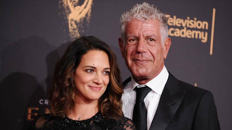 Asia Argento broke down in tears when talking about the death of her boyfriend, Anthony Bourdain, in first interview since his suicide.