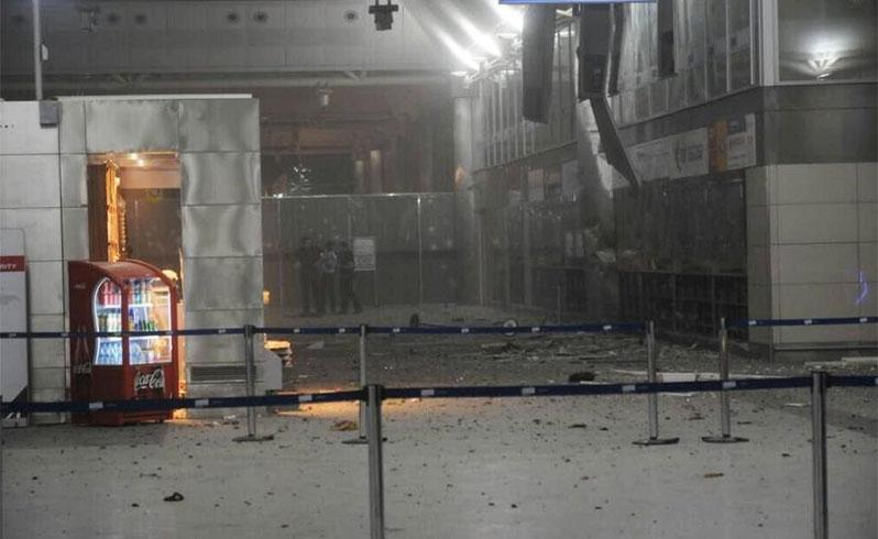 A view of the entrance of the Ataturk international airport after two suicide bombers opened fire before blowing themselves up. Photo: 140journo/Reuters