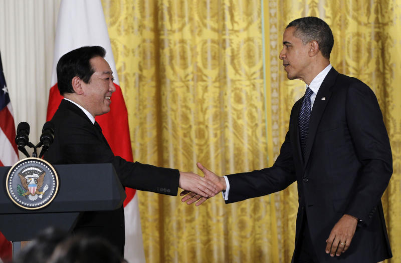 President Barack Obama shakes hands with Japanese Prime Minister Yoshihiko Noda after their joint news conference, Monday, April 30, 2012, in the East Room of the White House in Washington. (AP Photo/Pablo Martinez Monsivais)