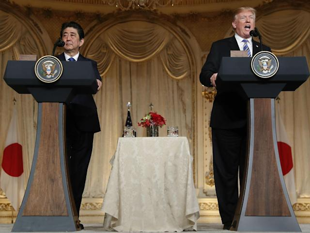 Donald Trump and Shinzo Abe speak during a news conference at Trump's private Mar-a-Lago club in Palm Beach, Florida: AP Photo/Pablo Martinez Monsivais