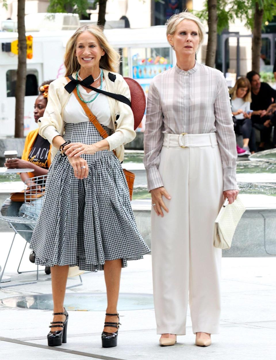 """Sarah Jessica Parker and Cynthia Nixon are seen on the set of """"And Just Like that"""" on July 09, 2021 in New York City"""